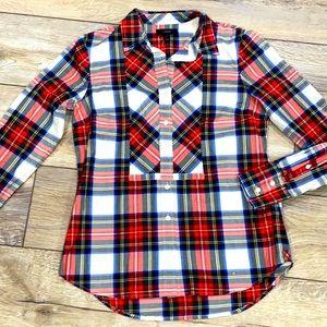 NWT J. CREW Plaid Holiday 100% Cotton Button Down Shirt Sz 2